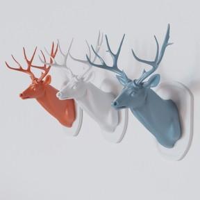 鹿头雕塑模型
