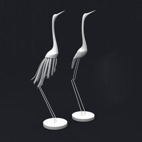 仙鹤雕塑模型